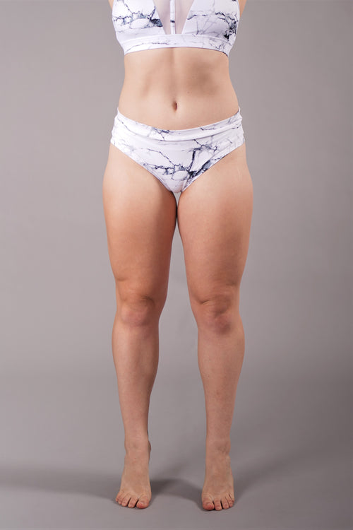 OFF THE POLE Classic Scrunch Shorts - White Marble