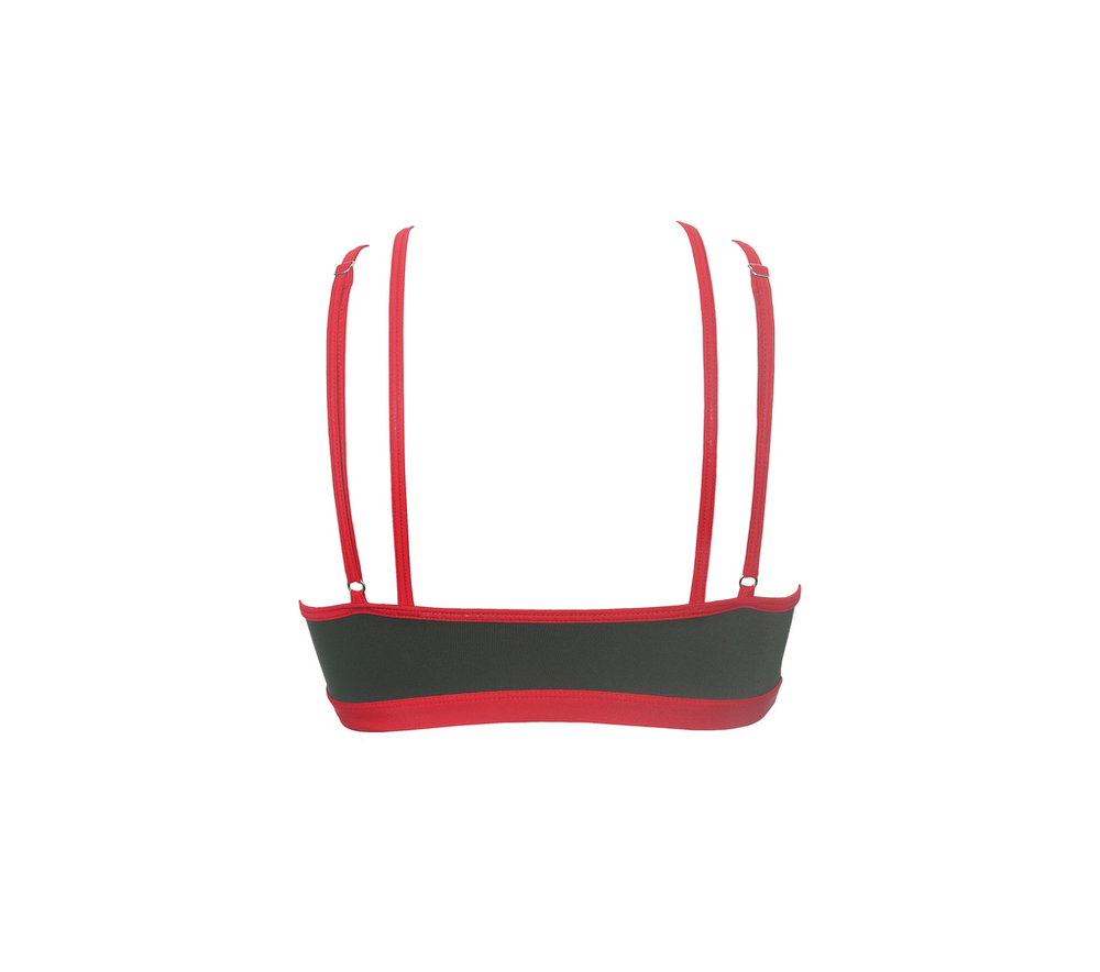HAMADE Strappy Ring-Front Top - Army Green with Red Binding