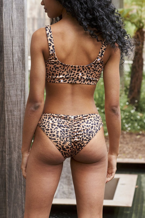 LUNALAE Ava Top - Brown Leopard