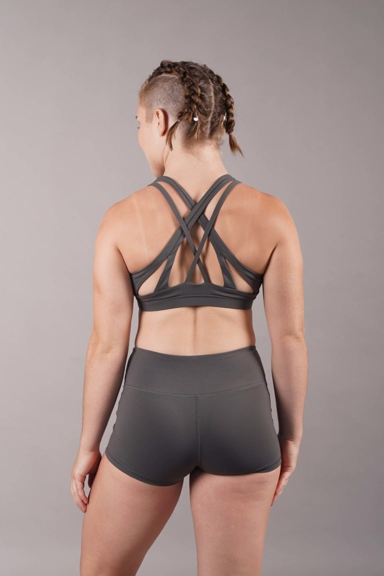 OFF THE POLE Criss Cross Sports Bra - Charcoal/Grey