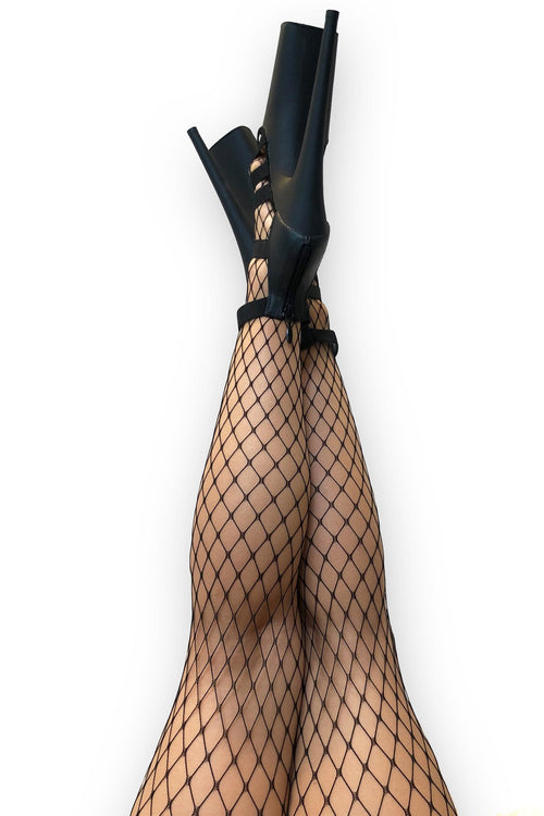 LUNALAE Large Net Fishnet Stockings - Black
