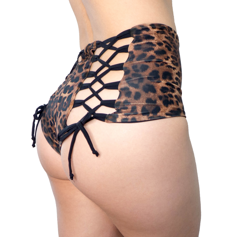VEKKER LA High Waisted Hollywood Shorts - Leopard