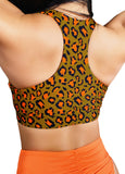 CLEO THE HURRICANE Power Print Twist Top - Toxic Orange Leopard