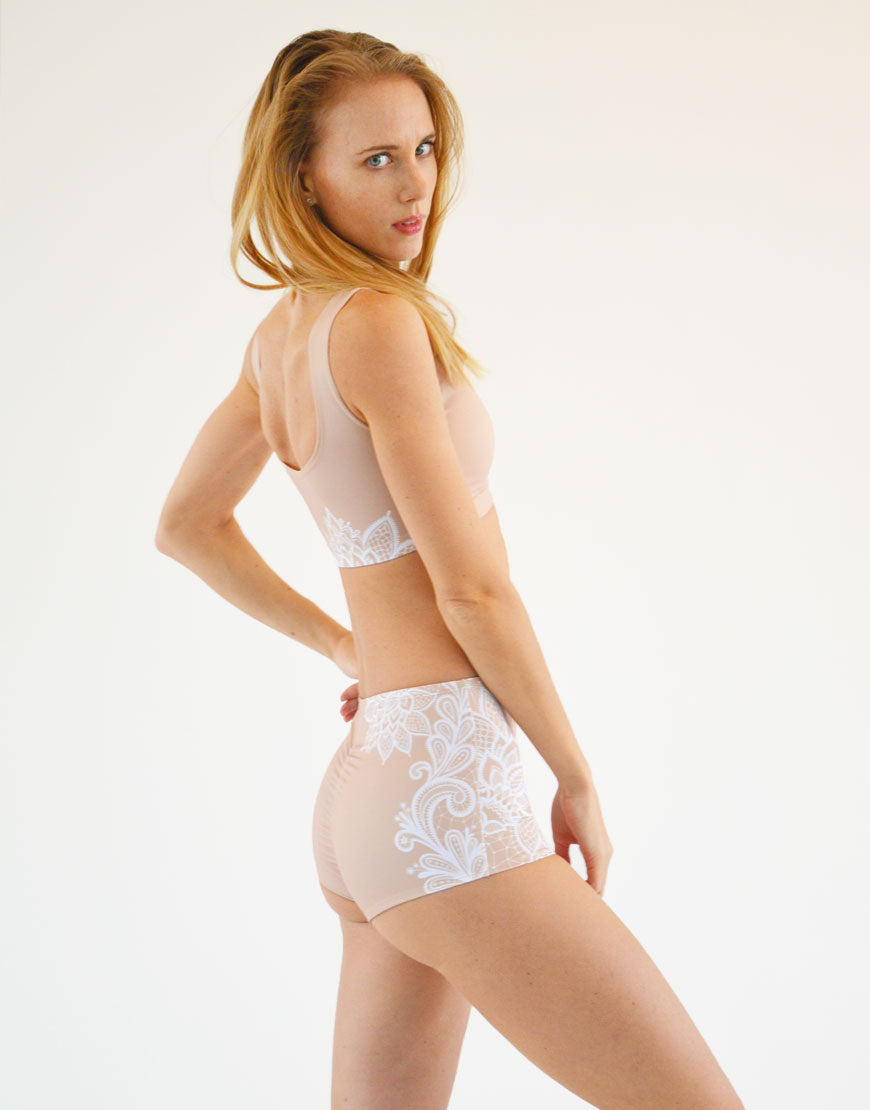 BOOMKATS Martini High Waisted Shorts - Nude Lace