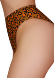 CLEO THE HURRICANE High Waisted Power Print High Rider Hot Pants - Toxic Orange Leopard