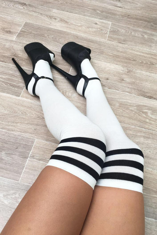 LUNALAE Thigh High Socks - White with Black Stripes