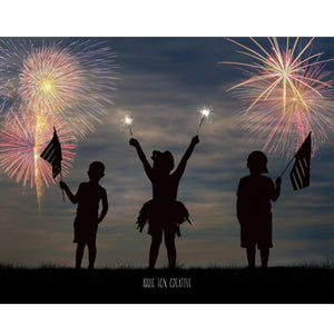 Sparkler Silhouette Digital Backdrop