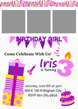 Load image into Gallery viewer, Pink/Purple 5x7 Birthday Invitations (Pick the Age)