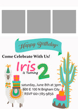 Load image into Gallery viewer, Lama/Cactus 5x7 Birthday Inviation (Pick the Age)