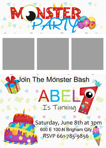 Monster Birthday 5x7 Invitation (Pick The Age)