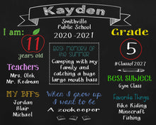 Load image into Gallery viewer, Back to School Chalkboard - Horizontal - Customize for your child/customer
