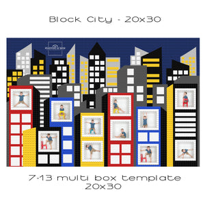 Block City Multi Box Template 20x30
