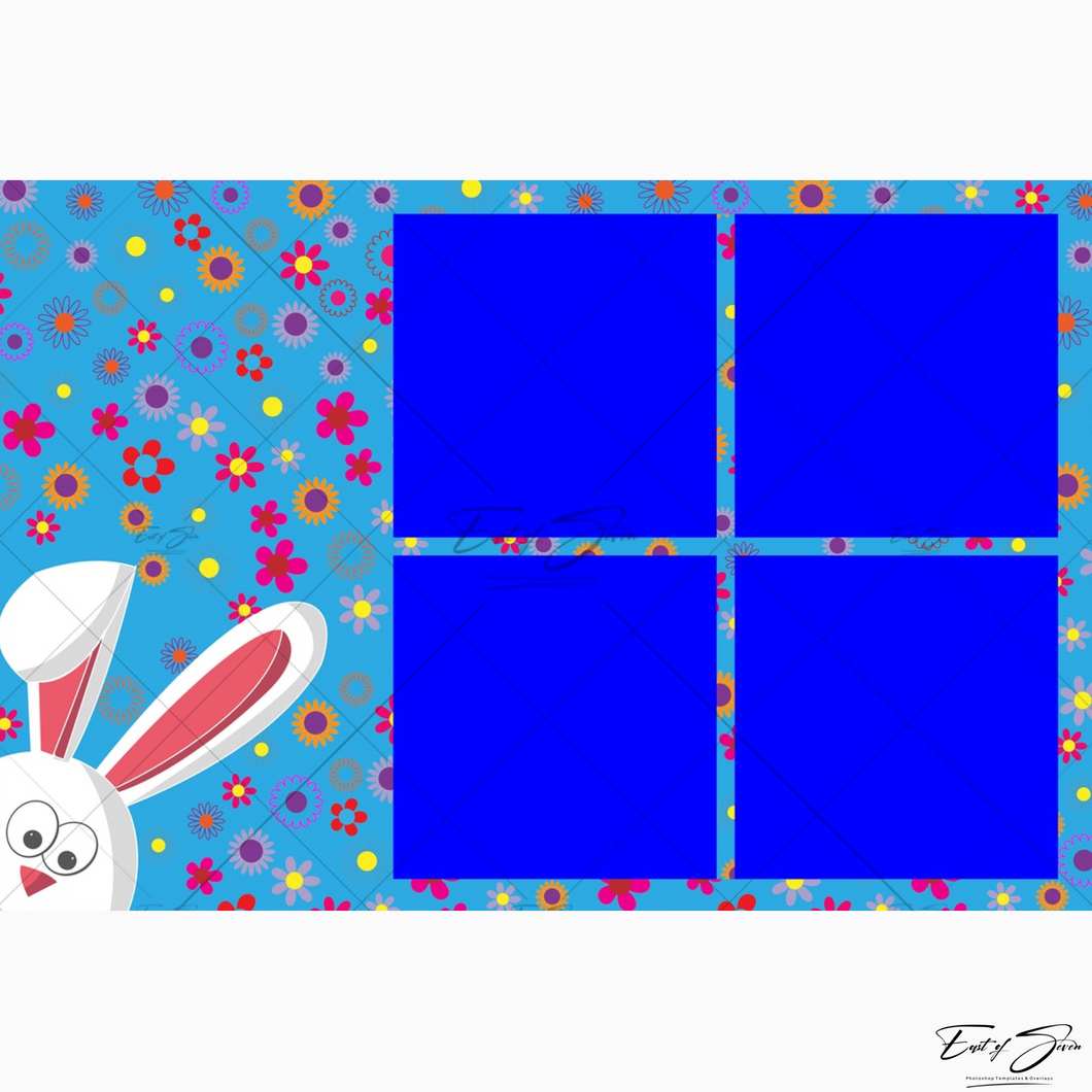 Easter Bunny 1, 4 or 9 Box Template