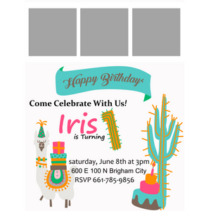Lama/Cactus 5x7 Birthday Inviation (Pick the Age)
