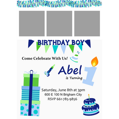 Blue/Green Birthday 5x7 Invitations (Pick the Age)
