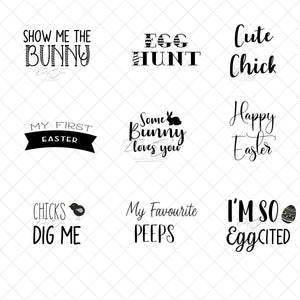 Word Art - Easter Sayings - 9 Designs in B&W and Colour