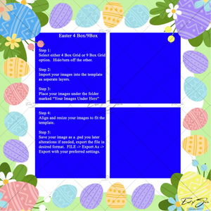 Easter Egg 4 or 9 Box Template