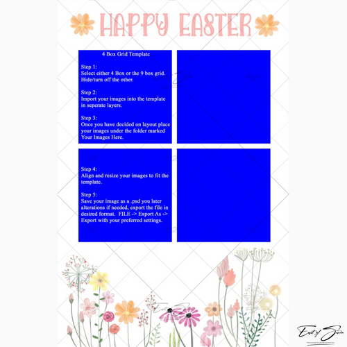Easter Water Colour 4 or 9 Box Template