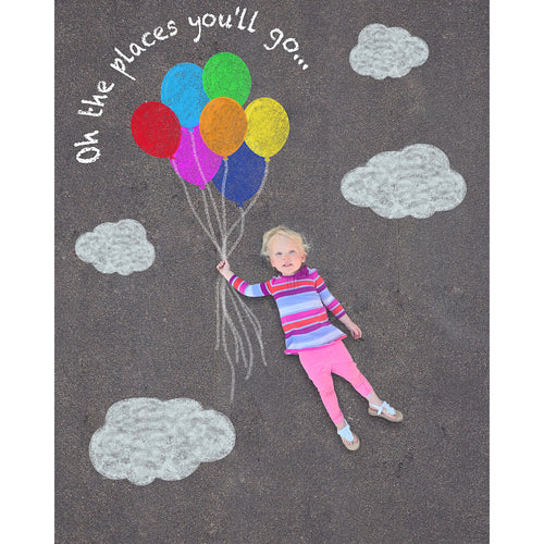 Sidewalk Chalk Floating Balloons Background