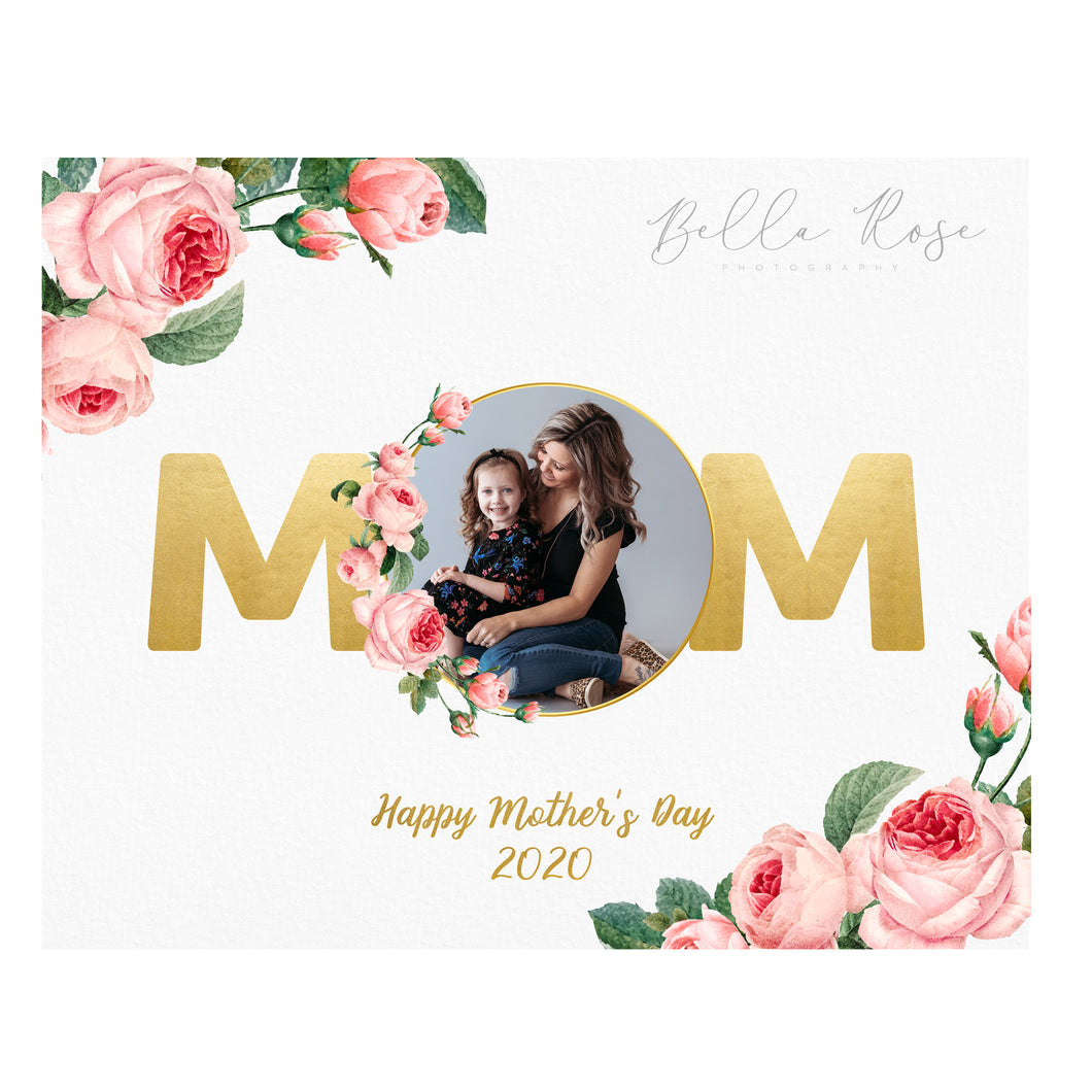 Mother's Day Photo - Gold & Floral
