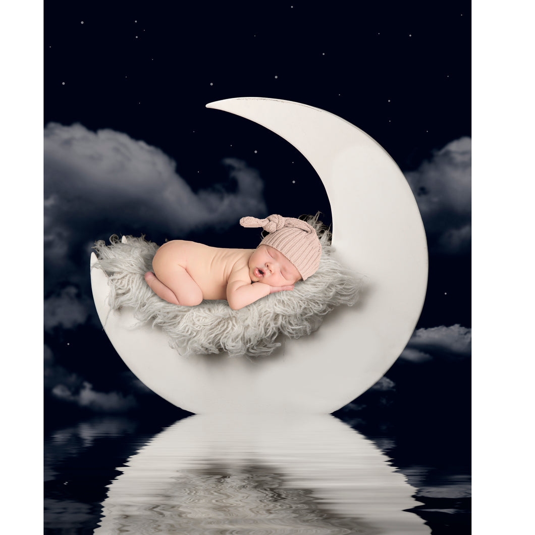 Newborn Digital Backdrop with Moon and Reflection
