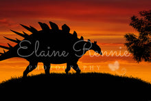Load image into Gallery viewer, Orange Sky Dinosaur Silhouette