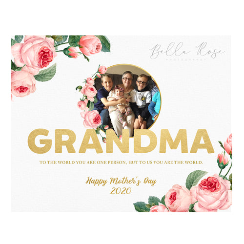 Grandma Mother's Day Photo - Gold & Floral