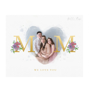 Mother's Day Photo - Gold - Floral - Watercolor - Template