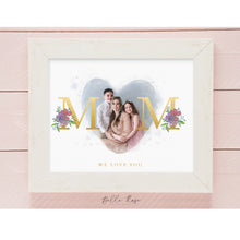 Load image into Gallery viewer, Mother's Day Photo - Gold - Floral - Watercolor - Template