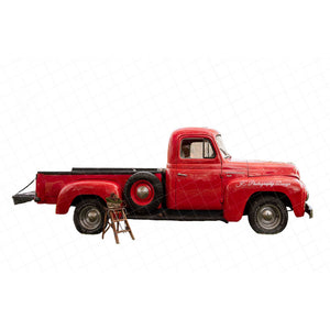 Vintage Red Truck PNG Bundle - 2 trucks included