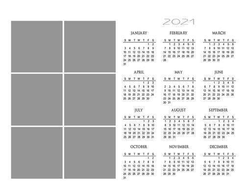 Blank Calendar template | 6 Box | Photoshop Template