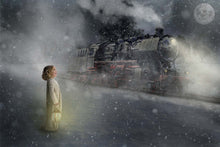 Load image into Gallery viewer, Polar Express Christmas Train digital backdrop