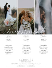 Load image into Gallery viewer, Wedding Price Guide 3 Package Investment