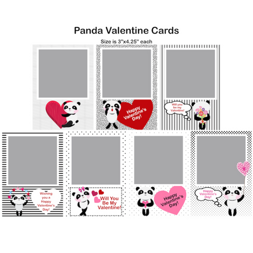 Pandas Valentine Single Photo Cards