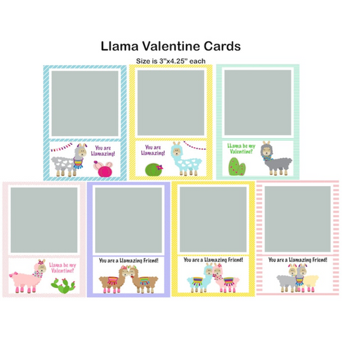 Llamas Valentine Single Photo Cards