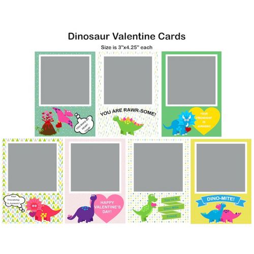 Dinosaur Valentine Single Photo Cards
