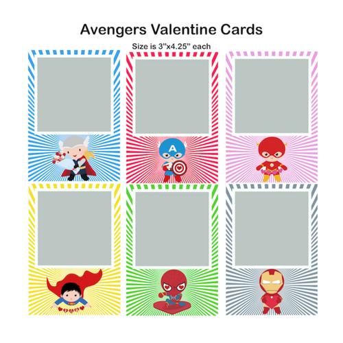Avengers Valentine Single Photo Cards