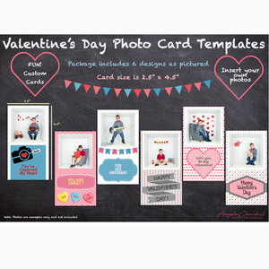 "6 Valentine Photo Cards 2.5"" x 4.5"""