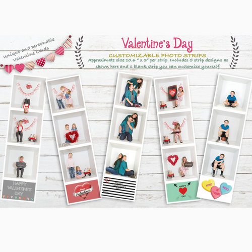 Valentine Photo Strips Template Large Size 10.6