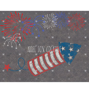 Sidewalk Chalk 4th of July Background