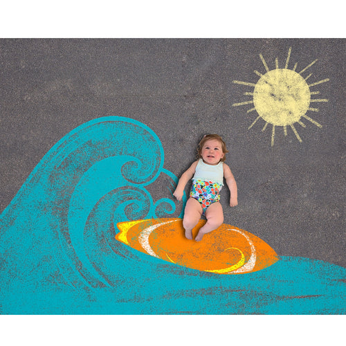 Sidewalk Chalk Surf Board Background