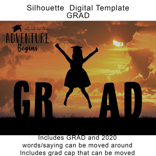 Silhouette Grad Digital Template