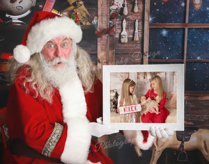 Surprised Santa Close up Toy shop Photo Frame - Clipping Mask template