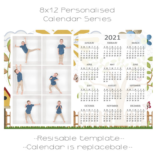 Summer Days Calendar Series Template 8x12 6 box