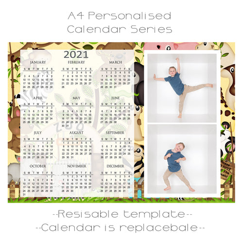 Zoo Days Series Calendar Template A4 2 box