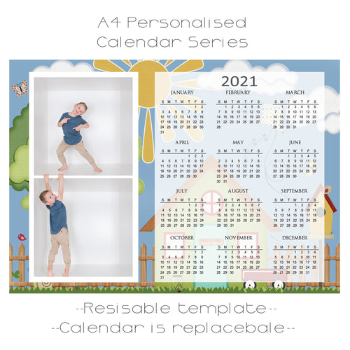 Tree House Series Calendar Template A4
