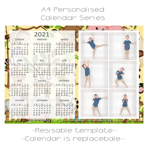 Zoo Days Series Calendar Template A4 6 box