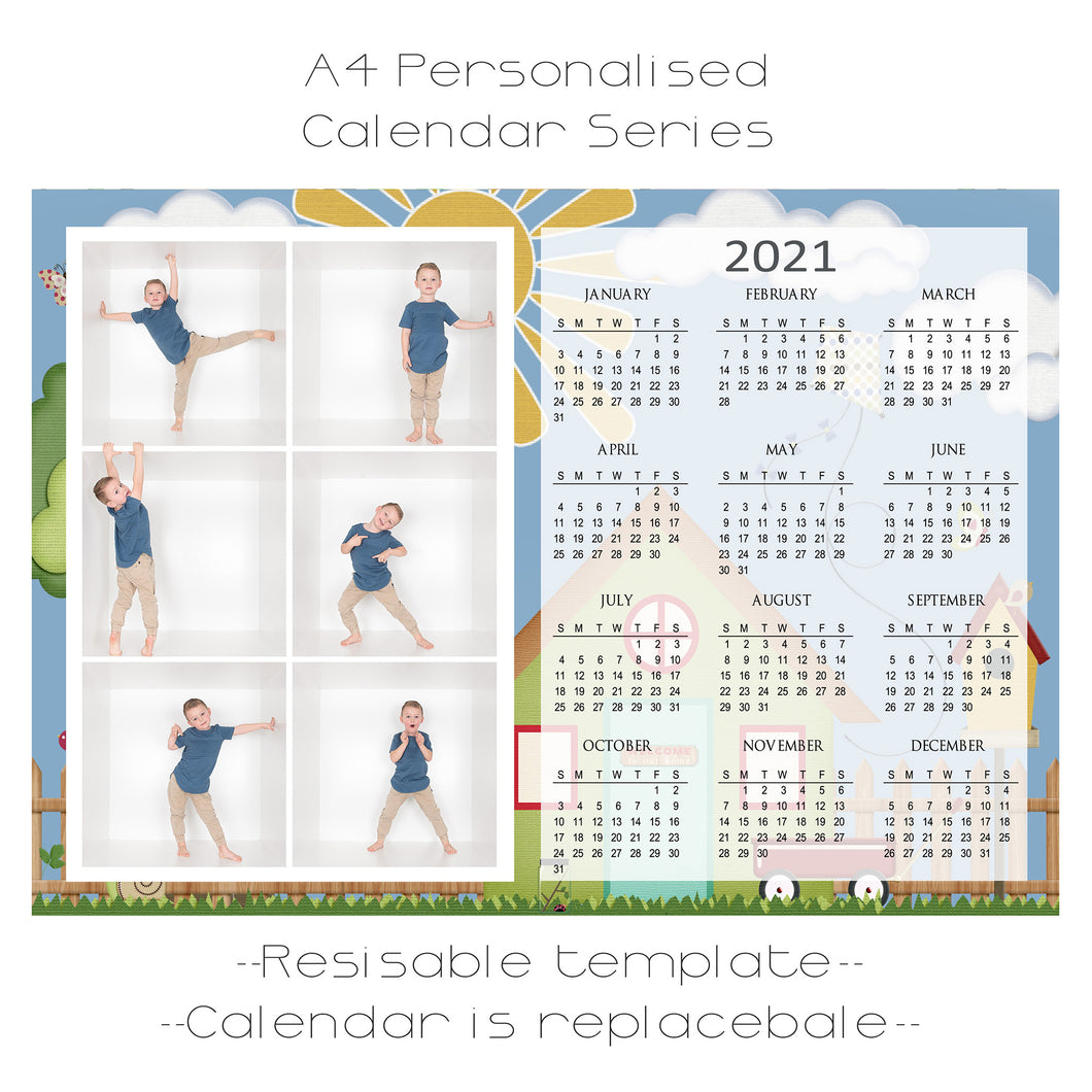 Tree House Series Calendar Template A4 6 box
