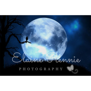 Blue Moon Silhouette Digital Background