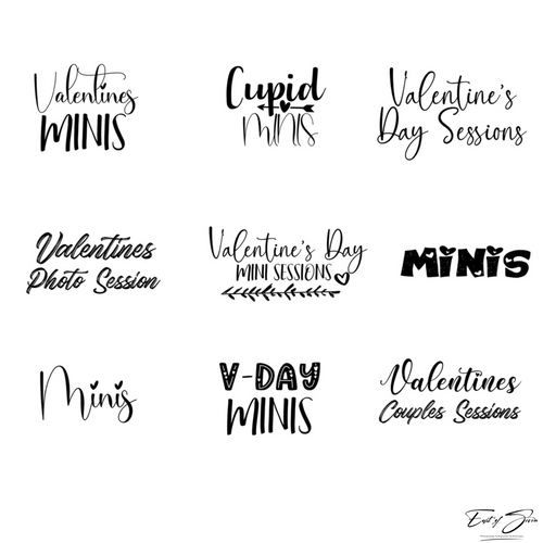 Valentine's Day Sessions Word Art Overlays